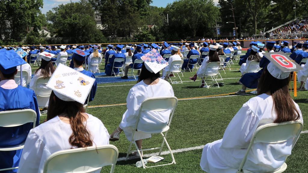 Photo of decorated caps of WHS graduates