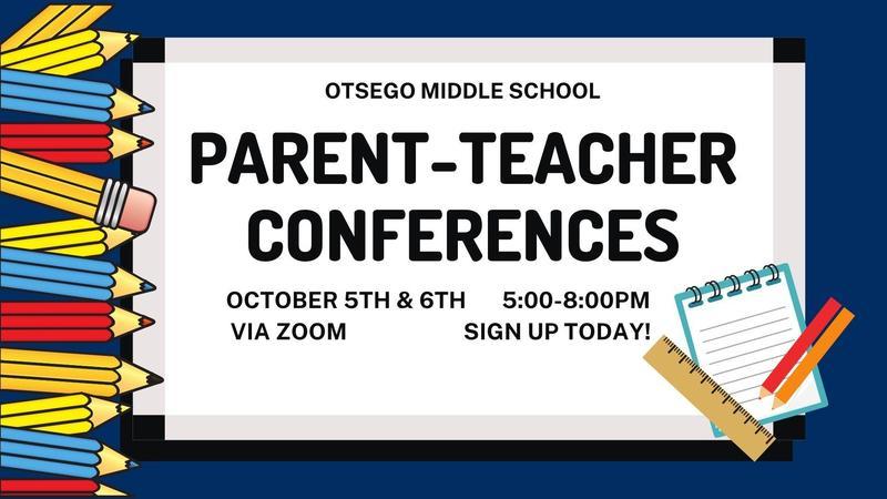 graphic with pencils that says parent-teacher conferences