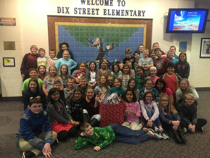 Dix Street students with their gifts.
