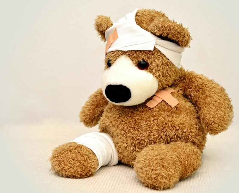 Stuff bear with bandages