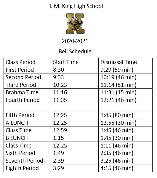 HMK Bell Schedule 20/21