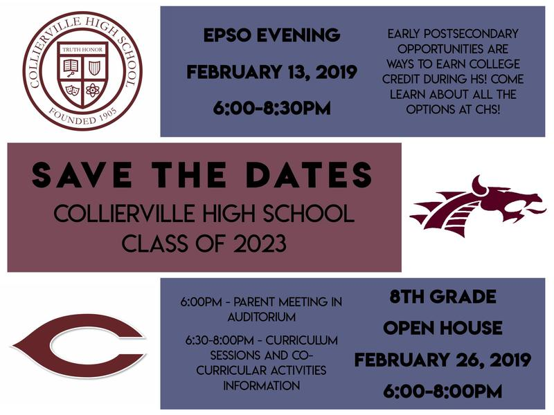 8th Grade Open House at Collierville High School! Thursday 2/28 from 6:00-8:00pm Featured Photo