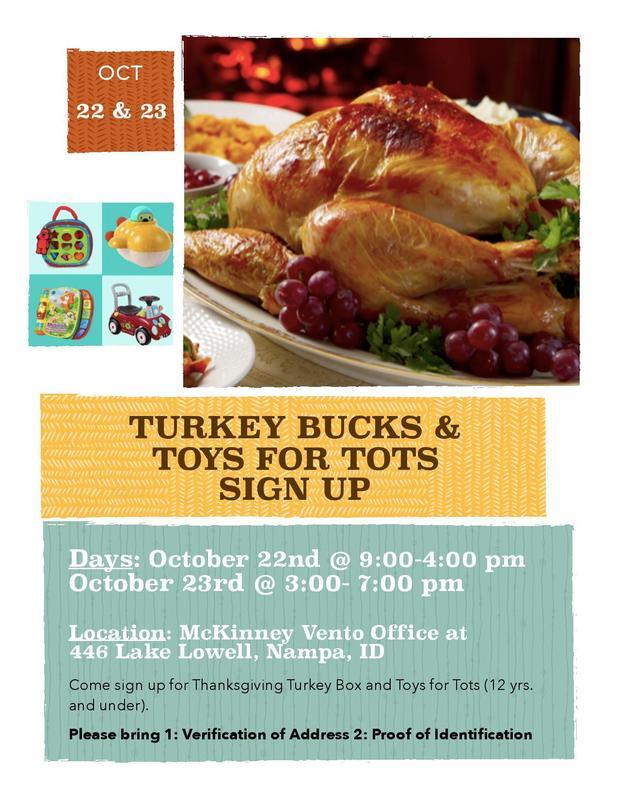 Turkey Bucks & Toy for Tots