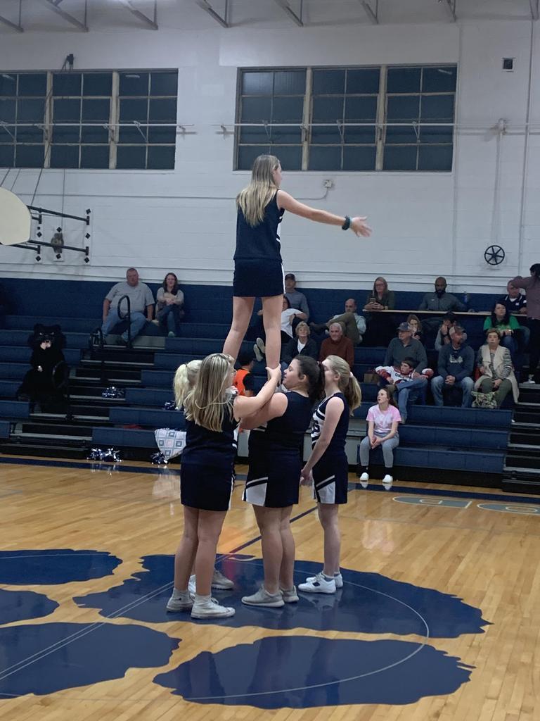 NMS cheerleaders in a stunt.