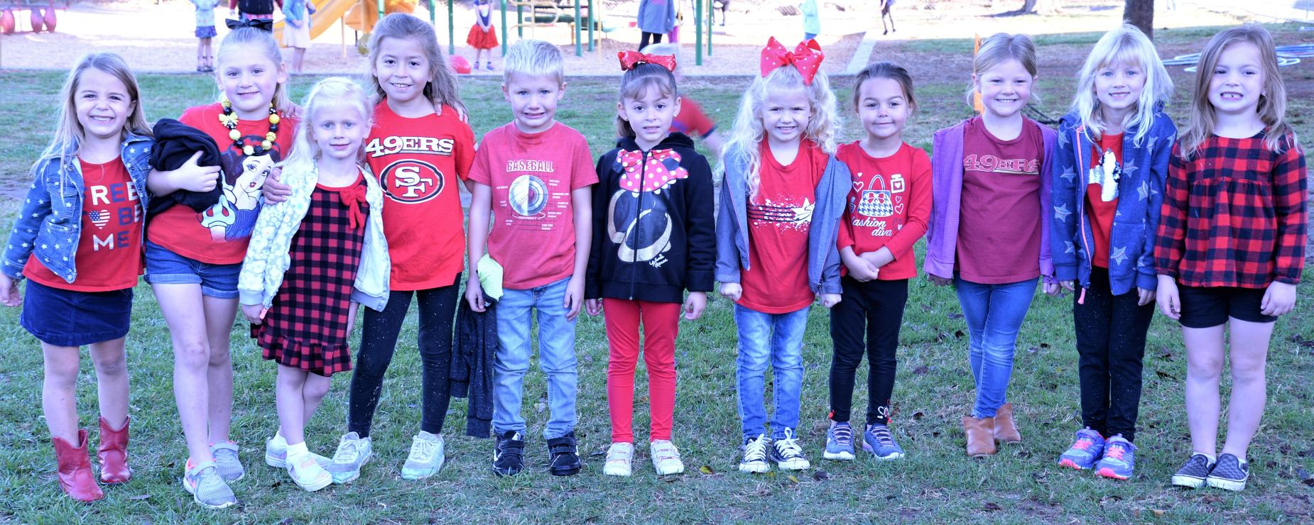 students dressed for red ribbon week