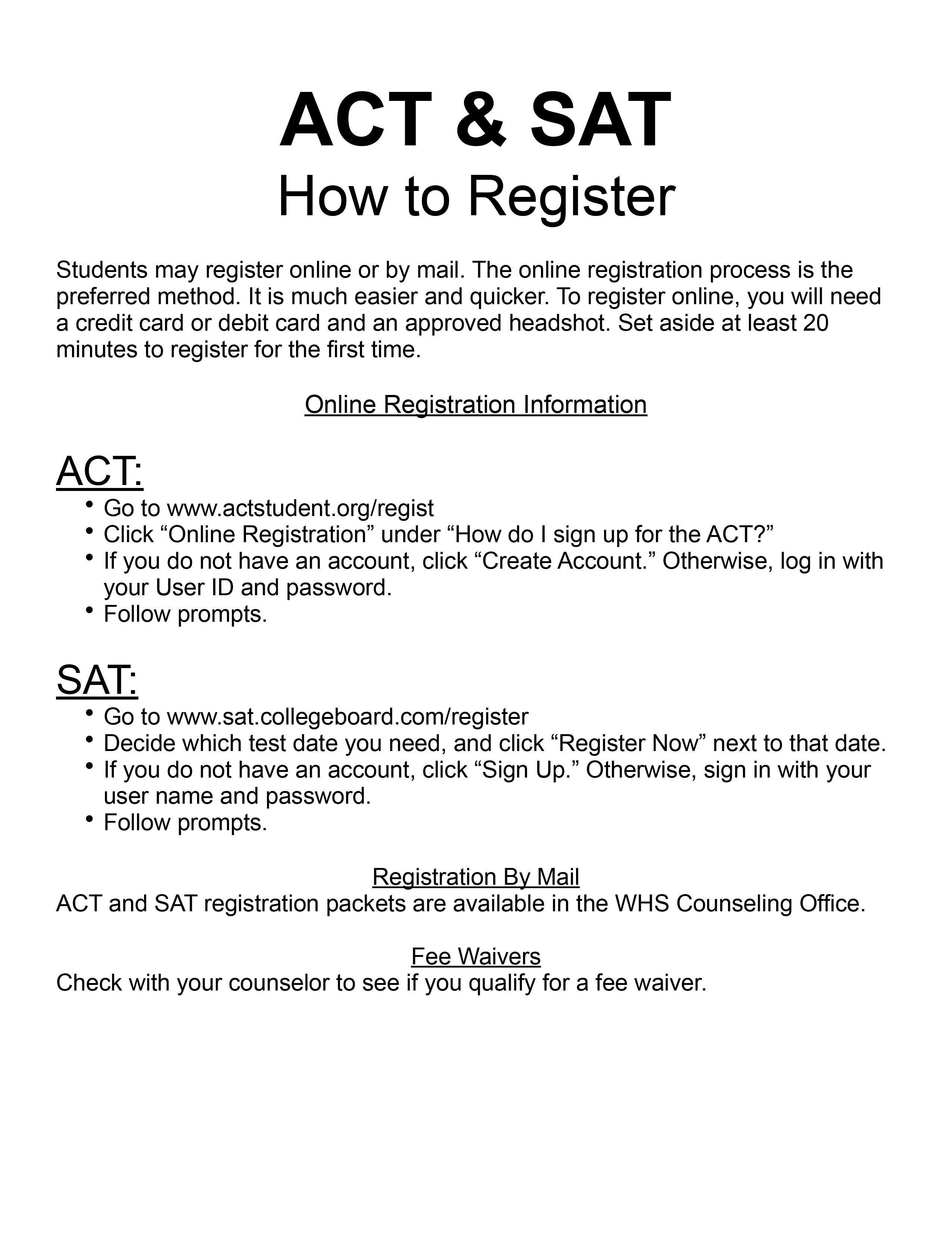 ACT/SAT test registration instructions