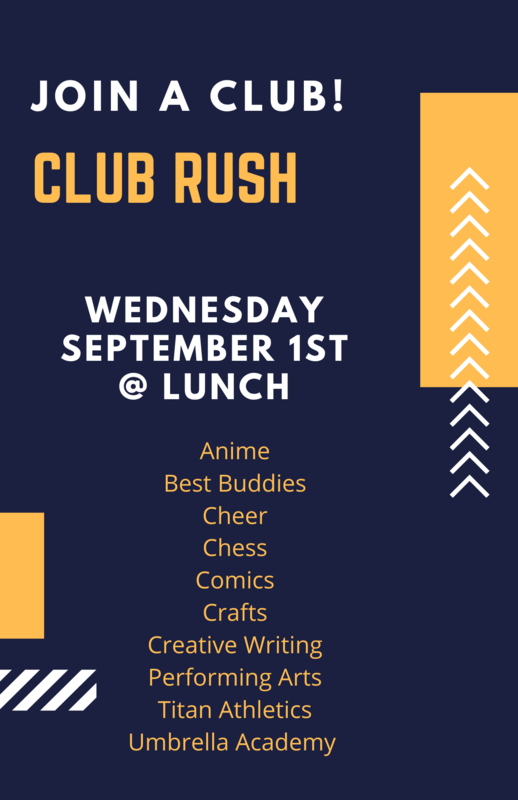 Club Day Wednesday at lunch!  Come join in the fun!