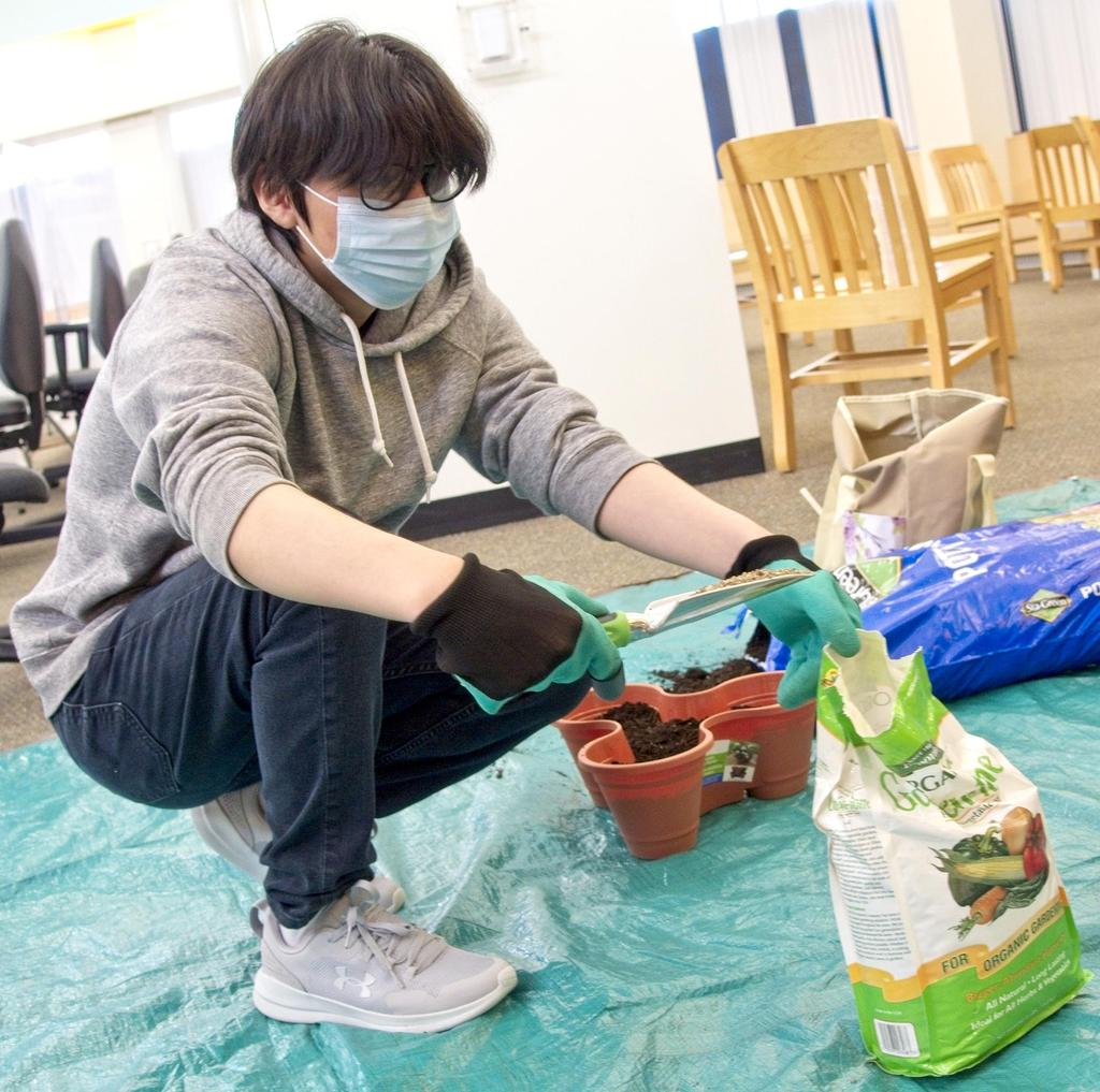 A student working with soil as part of an agriculture project