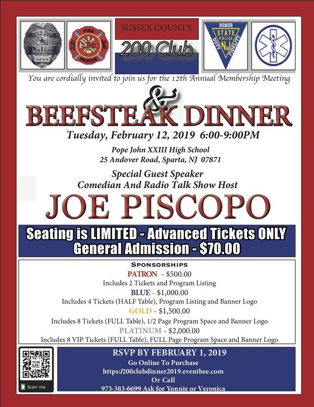 Sussex County 200 Club Beefsteak Dinner at PJ postponed Thumbnail Image