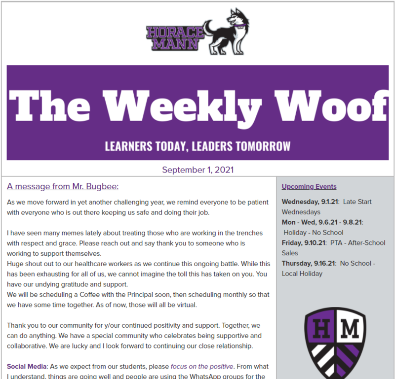 The Weekly Woof Newsletter for September 1, 2021