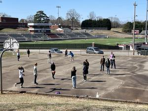 DHS students playing 4 square