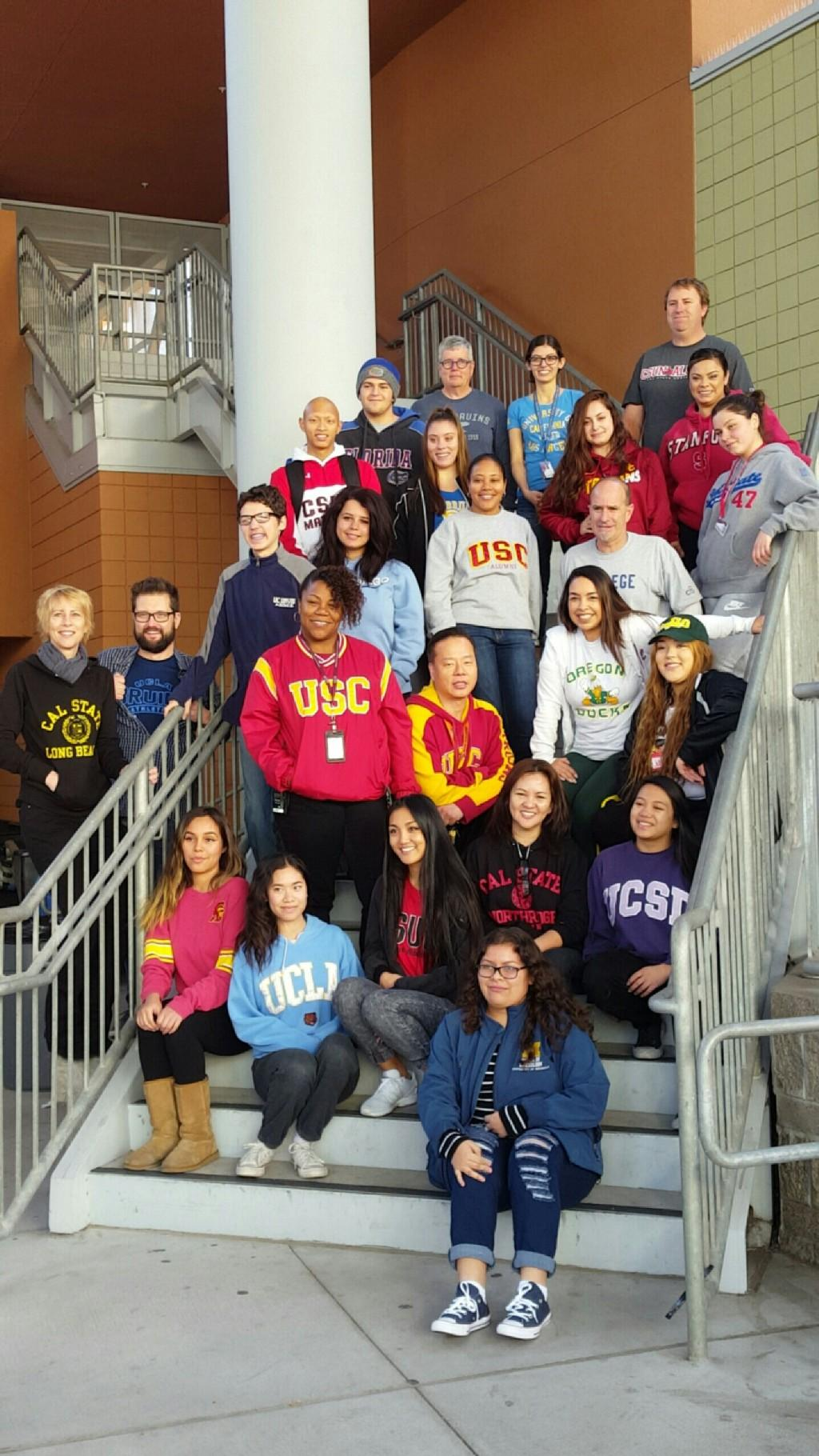 VAAS Staff and students wearing college gear
