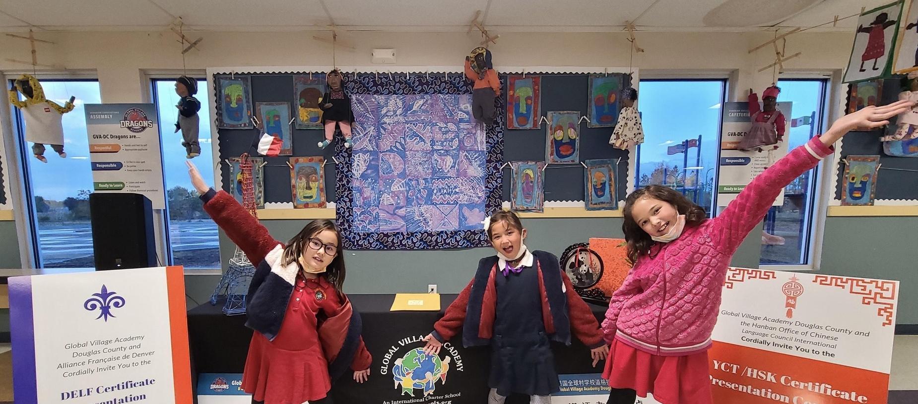 Students Celebrating Receiving Certificates in their Target Language- Mandarin!