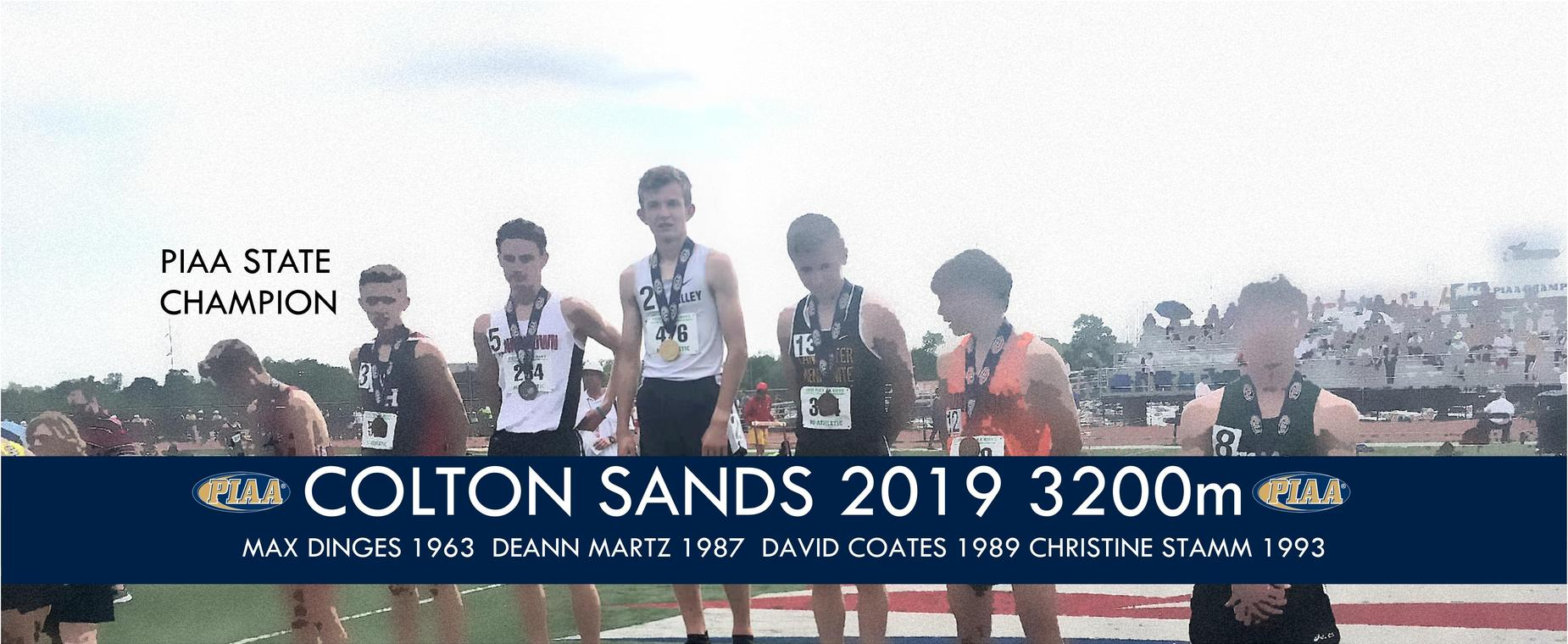 Colton Sands joins the royal company of Max Dinges (wrestling), Deann Martz (track and field 3200m), David Coates (golf), and Christine Stamm (cross country) as the only individual state champions in Penns Valley history.