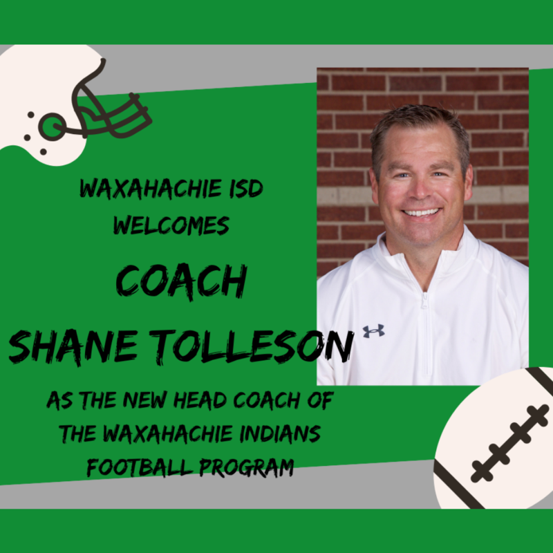 graphic with picture of Coach Shane Tolleson announcing him has head football coach