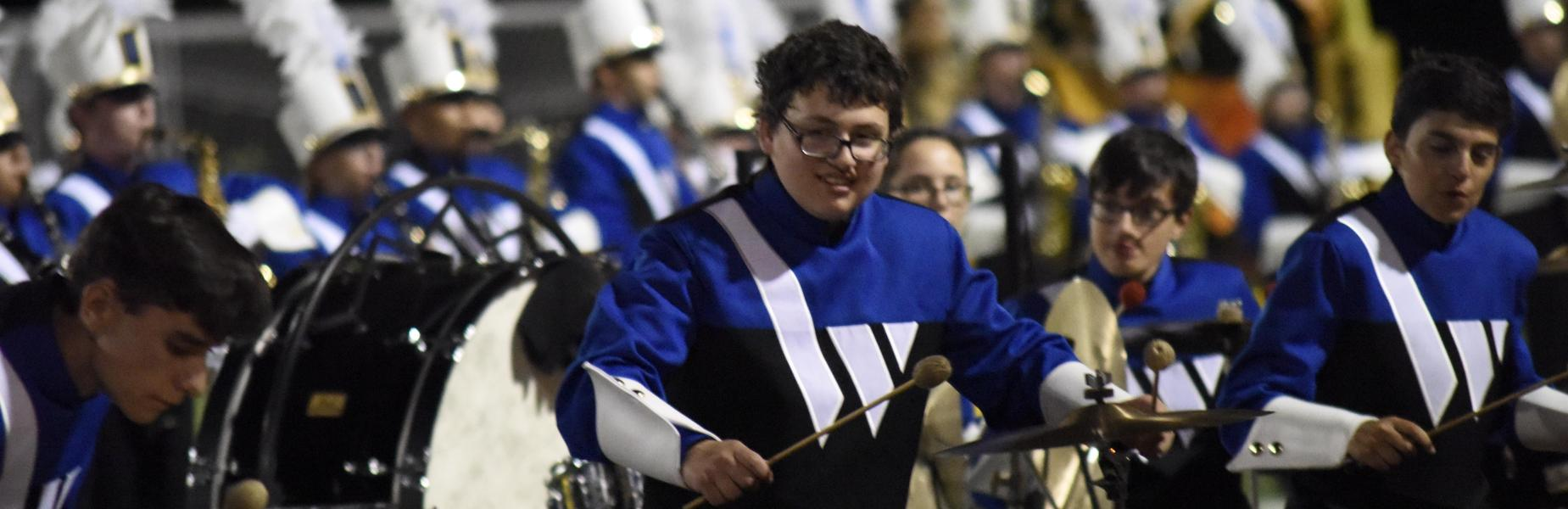 Percussionist Ian Gurland and fellow Westfield High School marching band members participate in the 41st annual Superchief Band Festival in Piscataway on 9/29/2018.