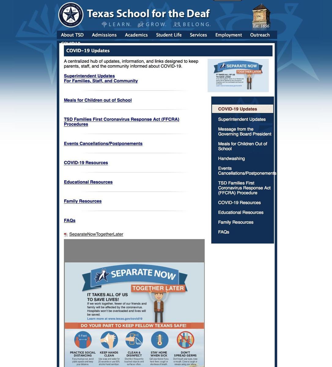 TSD COVID-19 Webpage