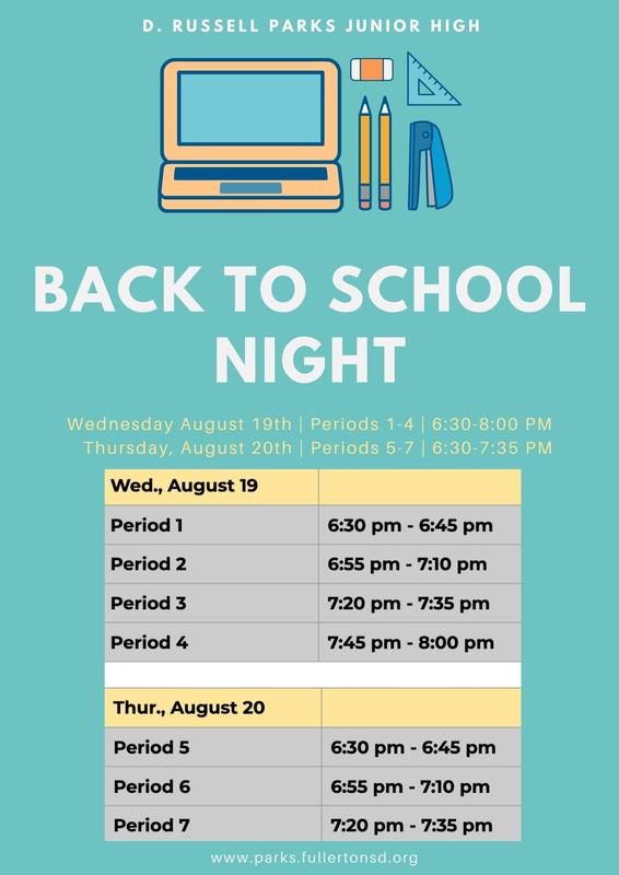 Back to School Night dates and times