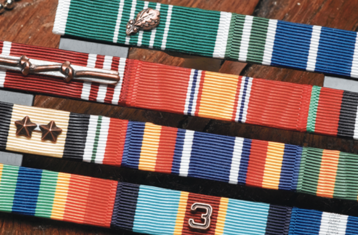 Photo of military honor ribbons display