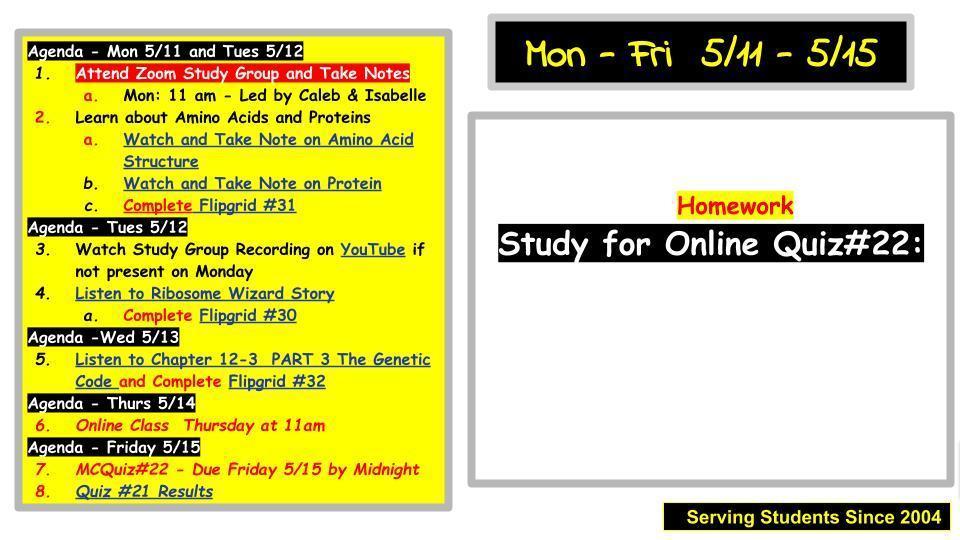 Agenda 5/11 - 5/15
