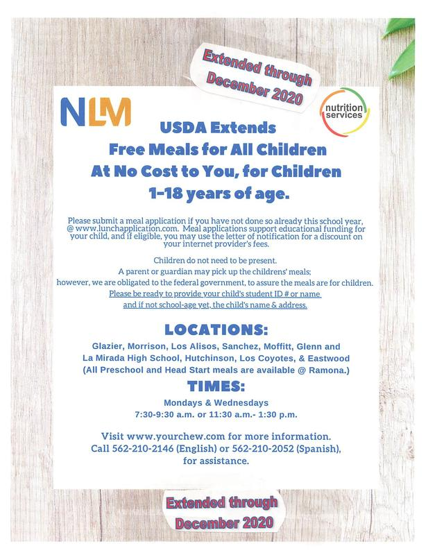 FREE MEALS EXTENDED DEADLINE FOR ALL NLMUSD CHILDREN, AGES 1-18 Featured Photo