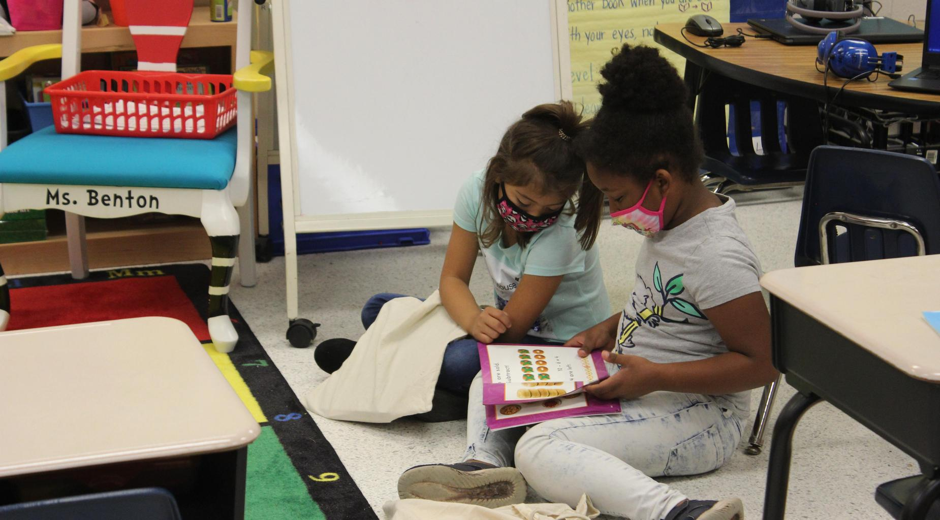 Students reading.