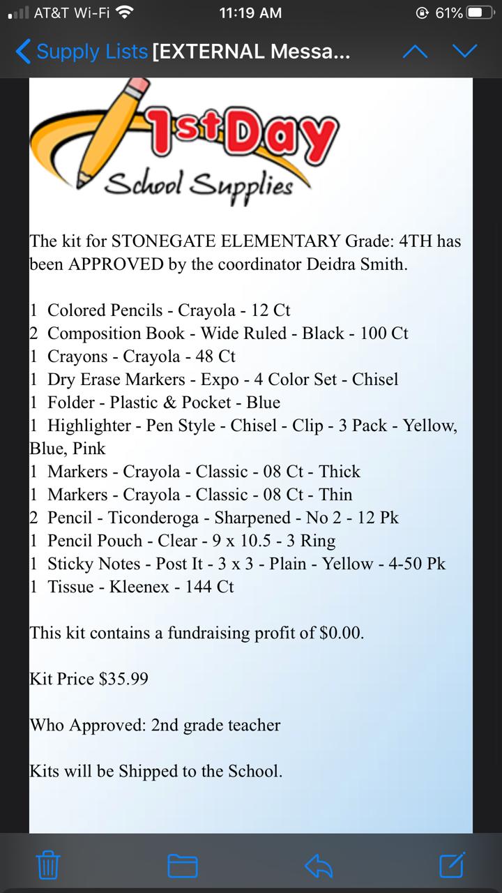 4th Grade Supply List 20-21