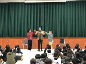Wayne Houchin and some volunteers during a special magic show at Lairon.