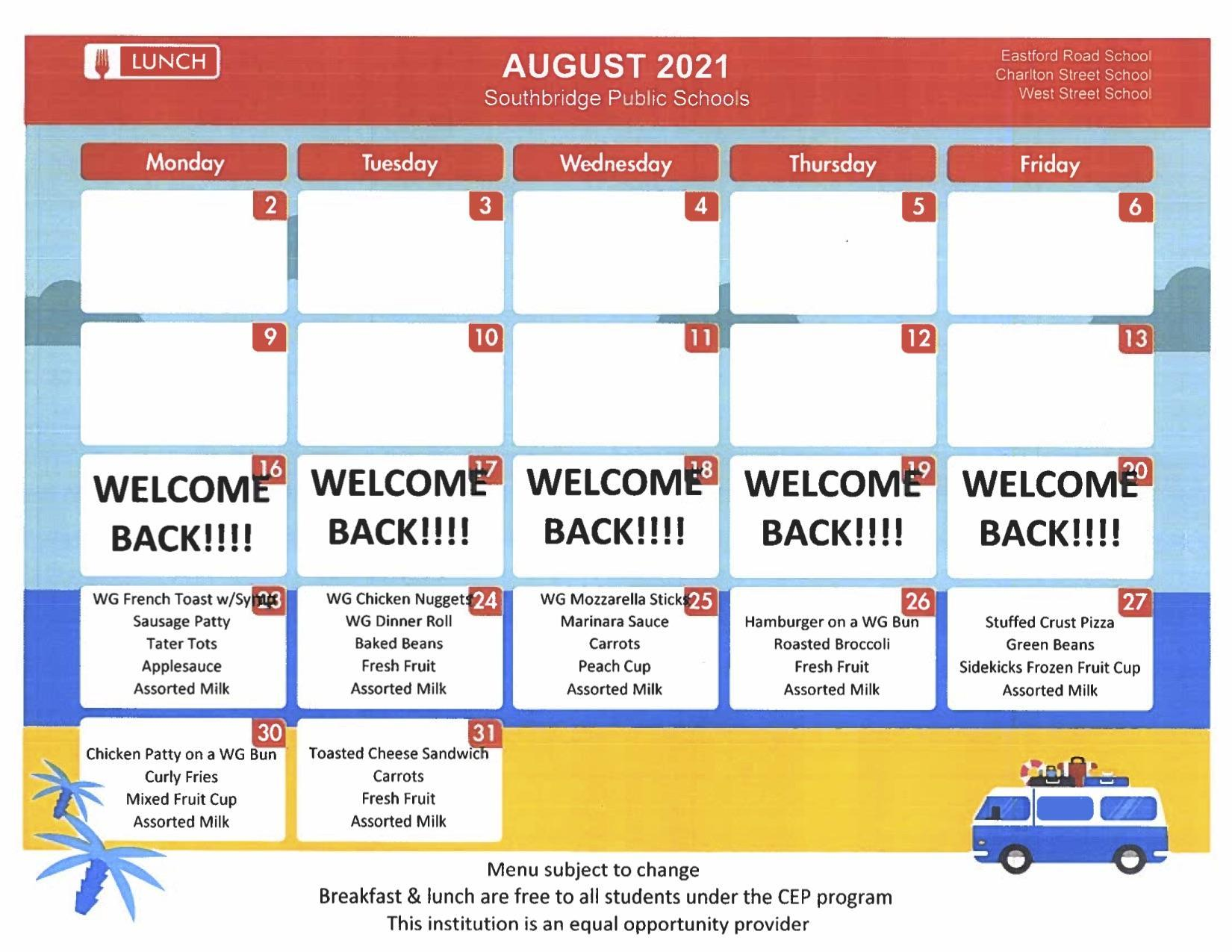 August 2021 menu for elementary schools. PDF version also available on this page.