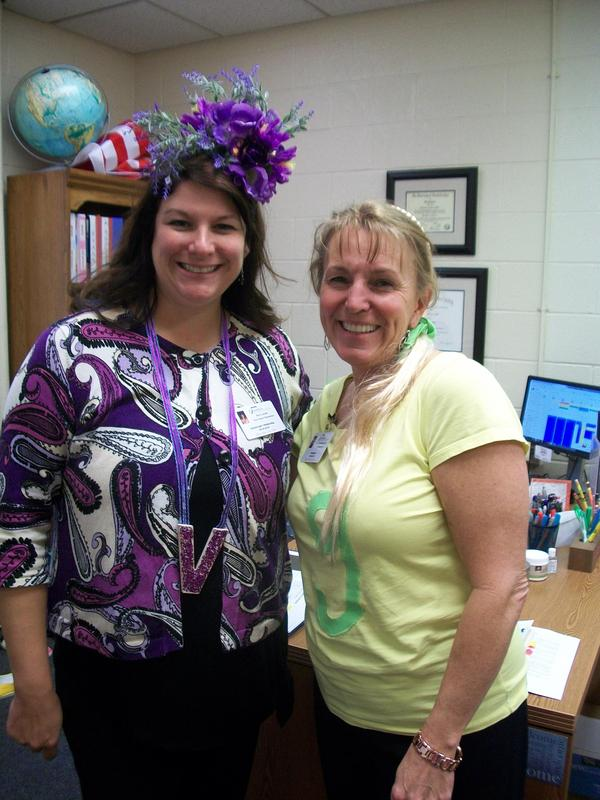 Administrators dressed as Letterland characters.