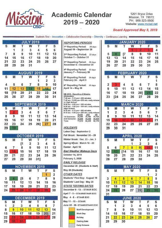Calendario Con Week 2018.Cavazos Elementary School