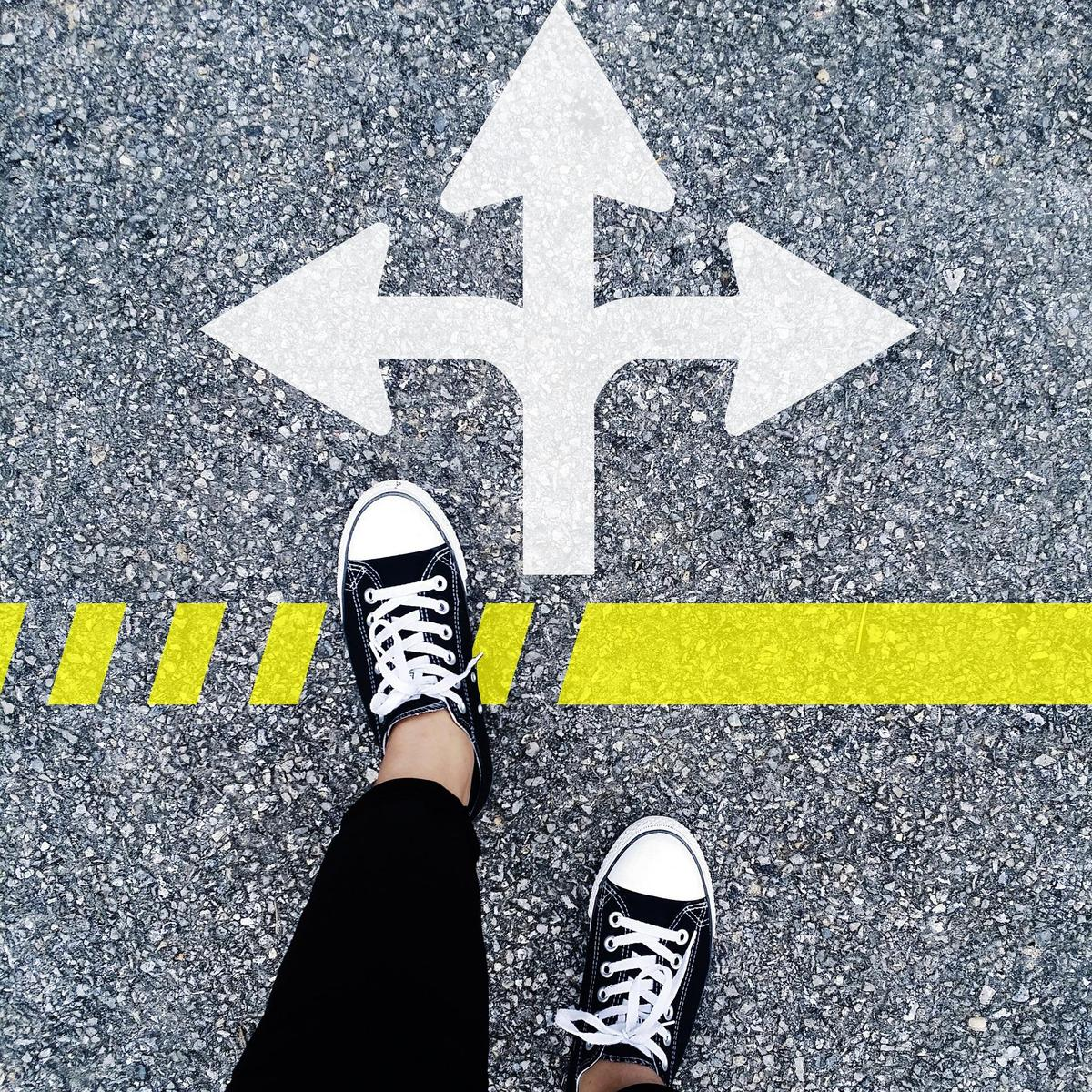 feet choosing a path