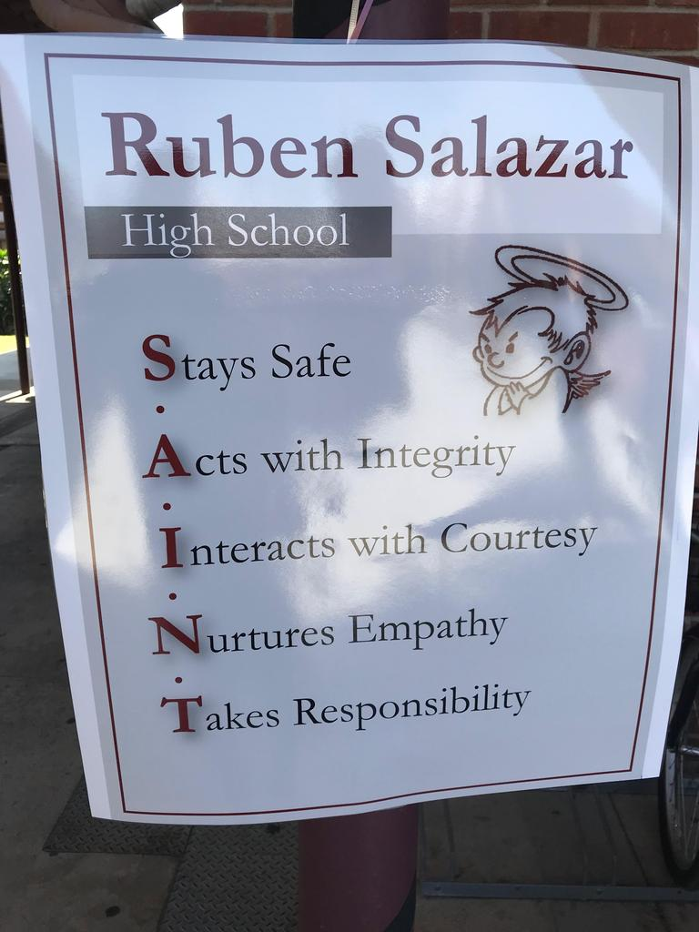 A Salazar Saint stays safe, acts with integrity, interacts with courtesy, nurtures empathy, and takes responsibility.