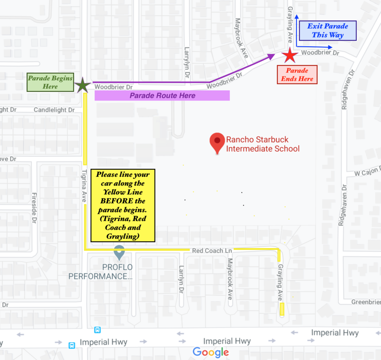 Rancho Parade Route map