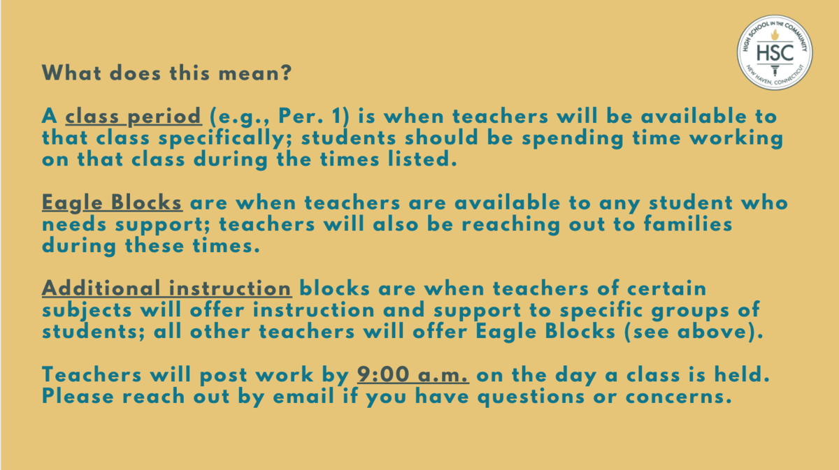 Clarification of remote learning schedule