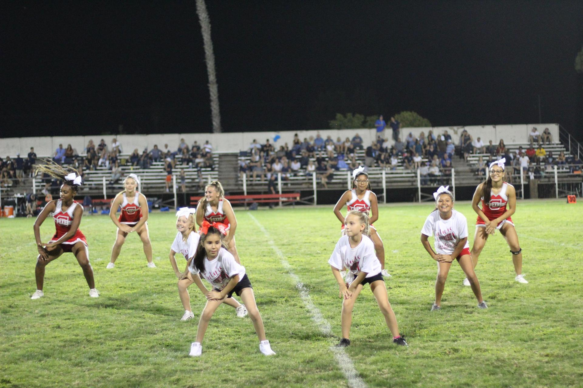 Varsity Cheerleaders at the Central valley christian football game