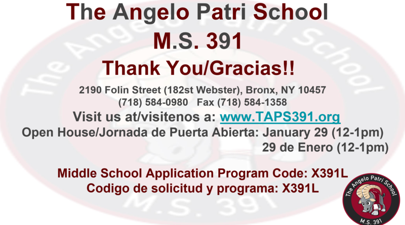 The Angelo Patri Middle School's Open House on January 29, 2021- 12:00-1:00pm Featured Photo