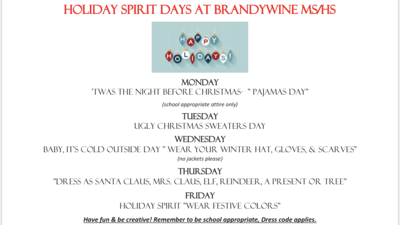 Holiday Spirit Days are December 16th-20th at MS/HS Thumbnail Image