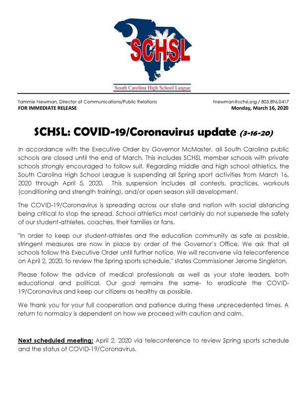 SCHSL Suspends all spring sports activities