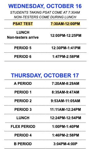 PSAT & Altered Schedule Oct 16-17 Featured Photo