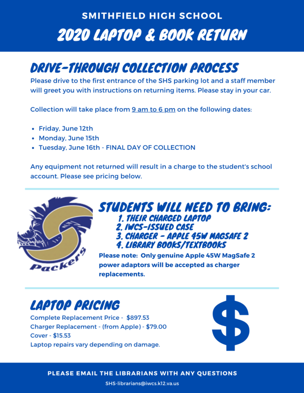 Flyer with details for laptop collection June 12, 15, and the last day June 16 from 9 am to 6 pm