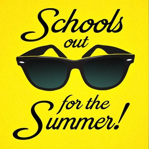 Yellow box with sunglasses, School's out for the Summer!