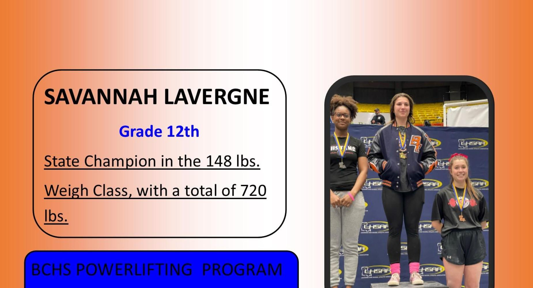 Savannah Lavergne - Powerlifting Results
