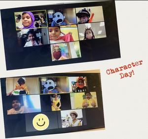 Zoom class on character day collage