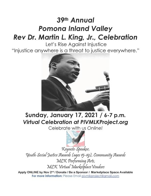 Sunday, January 17, 2021 / 6-7 p.m. Virtual Celebration at PIVMLKProject.org Celebrate with us Online!