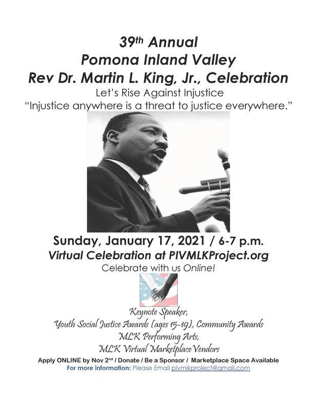 Sunday, January 17, 2021 / 6-7 p.m. Virtual Celebration at PIVMLKProject.org Celebrate with us Online!
