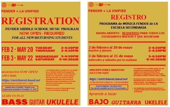 Fender Music Program Spring 2021 - Good News! Registration Deadline Extended until Nov. 25! Featured Photo