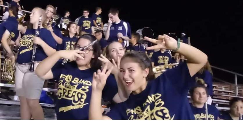 band students in the stands