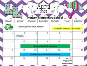 April Calendar in Spanish