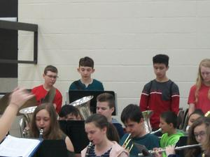 Brown Middle School 7th Grade Band plays for Pilot's fifth graders.
